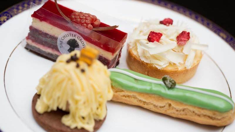A selection of nice pastries and sweets as part of afternoon tea in chester