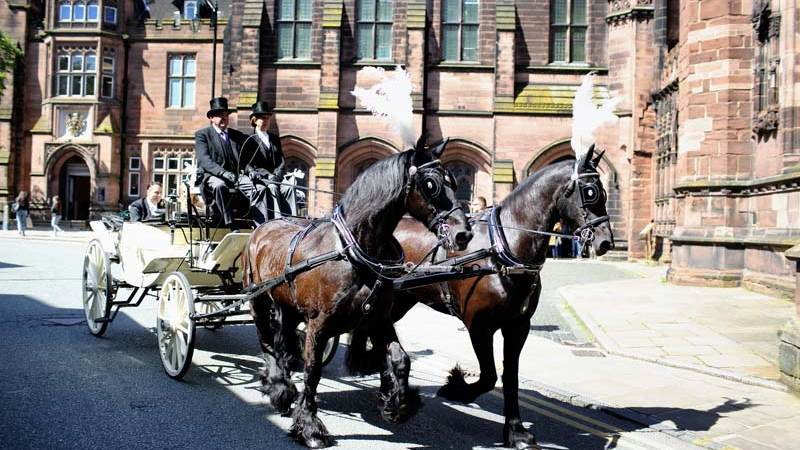 Weddings Horse and Carriage beside Chester Cathedral